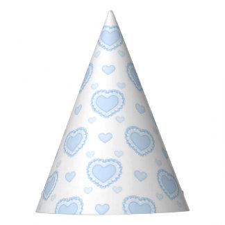 Romantic Blue & White Hearts Party Hat