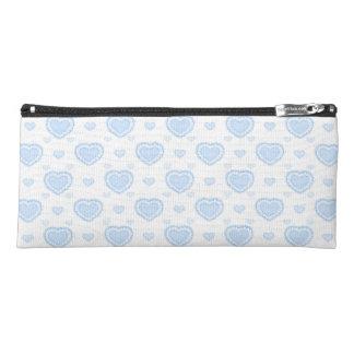 Romantic Blue & White Hearts Pencil Case