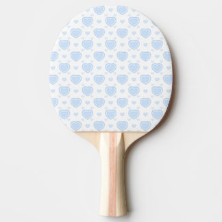 Romantic Blue & White Hearts Ping Pong Paddle