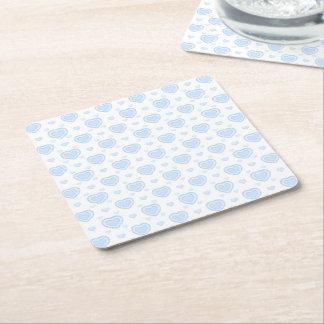 Romantic Blue & White Hearts Square Paper Coaster