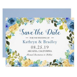 Romantic Blue Yellow Rose Garden Save The Date Card