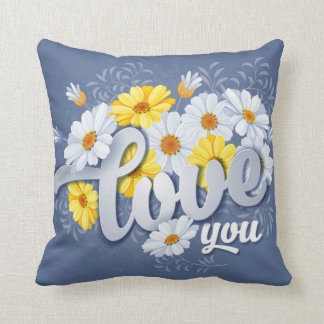 Romantic Blue, Yellow & White Camomile floral Throw Pillow