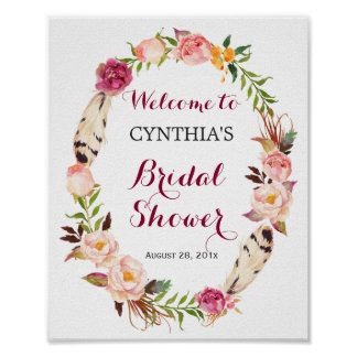 Romantic Boho Floral Wreath Bridal Shower Sign Poster