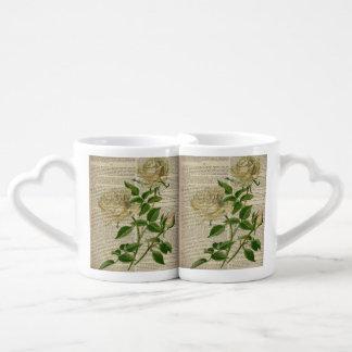 romantic botanical flower art girly white rose lovers mug set