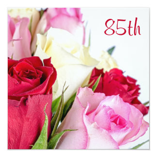 "Romantic Bouquet Of Roses 85th Birthday 5.25"" Square Invitation Card"