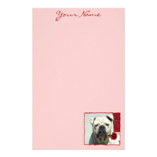 Romantic Bulldog stationary Stationery