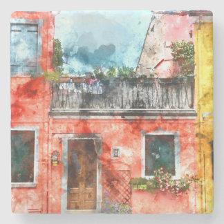 Romantic Burano Italy near Venice Italy Stone Coaster