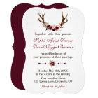 Romantic Burgundy Marsala Floral Antlers Wedding Card