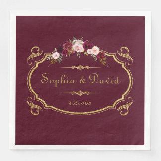 Romantic Burgundy Marsala Floral Fall Wedding Disposable Napkins