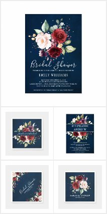Romantic Burgundy Red Navy Blue watercolor floral