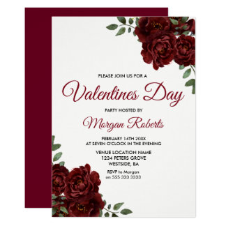 Romantic Burgundy Red Rose Valentines Day Party Card