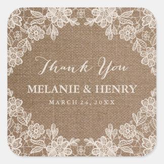 Romantic Burlap Lace Rustic Wedding Thank You Square Sticker