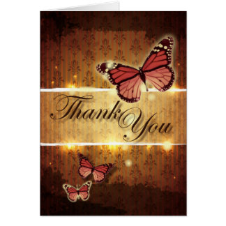 romantic butterfly fall wedding thank you card