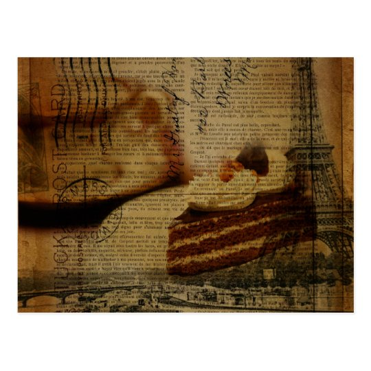 romantic cake lover Paris eiffel tower Postcard