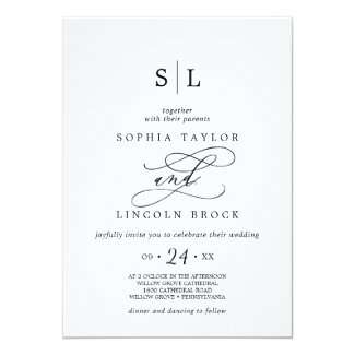 Romantic Calligraphy | Flourish Monogram Wedding Card