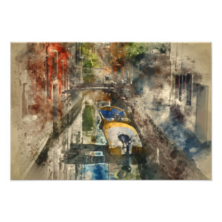 Romantic Canals of Venice Italy Watercolor Photo Print