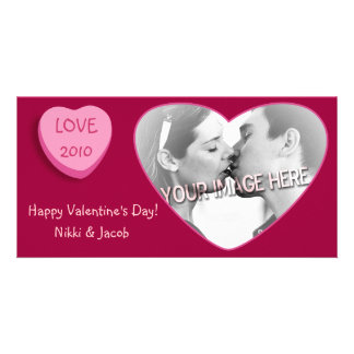 Romantic Candy Heart Personalized Personalized Photo Card