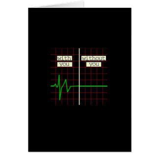 Romantic Card With Heart Beat Graph