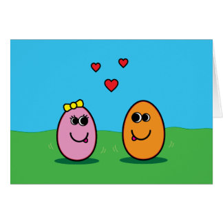 Romantic Cartoon Egg Couple Valentine's Day Easter Card