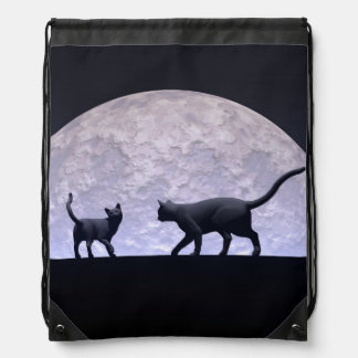 Romantic cats drawstring bag