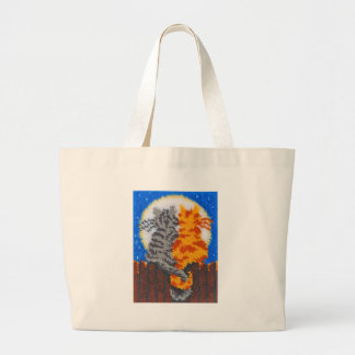 Romantic Cats Latch Hook Large Tote Bag