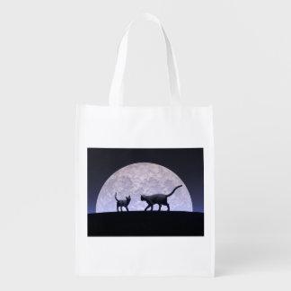 Romantic cats reusable grocery bag