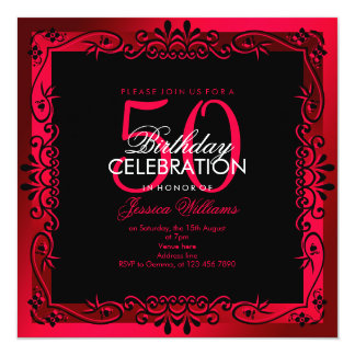Romantic Cerise Decorative Framed 50th Birthday Card