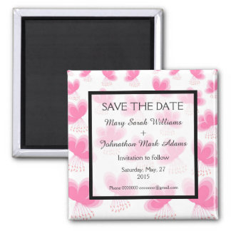 Romantic Cherry Blossom Wedding Save The Date 2 Inch Square Magnet