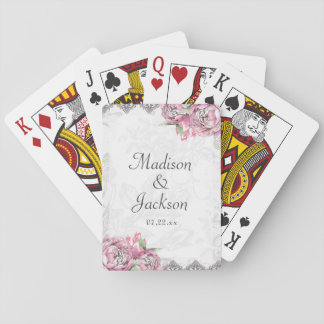 Romantic Chic Peony Floral & Lace Wedding Favor Playing Cards