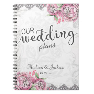 Romantic Chic Peony Floral & Lace Wedding Planner Spiral Note Books