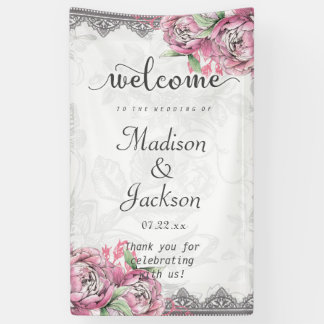 Romantic Chic Peony Floral & Lace Wedding Welcome Banner