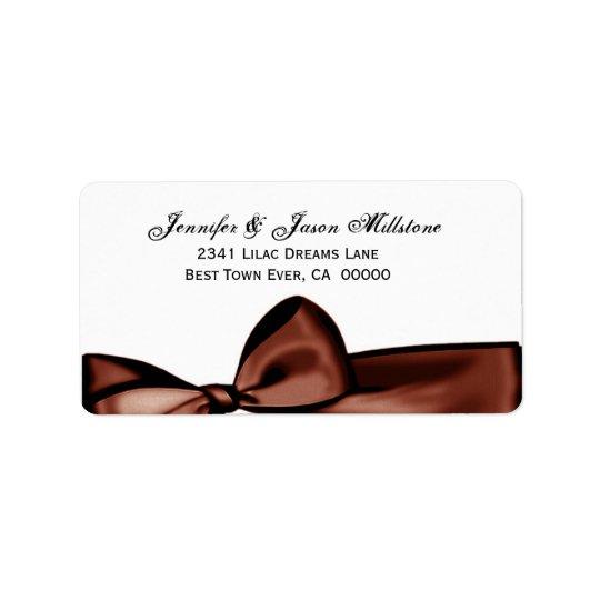 Romantic Chocolate Bow Wedding Label