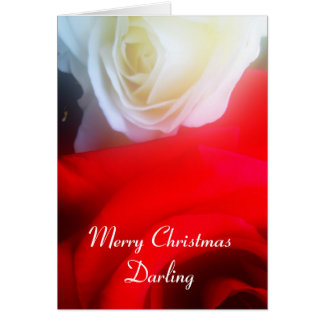 Romantic Christmas Card Red and White Roses