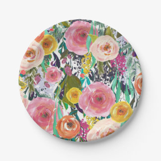 Romantic Colorful Flowers Paper Plate