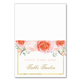 Romantic Coral and Pink Escort Cards Table Cards
