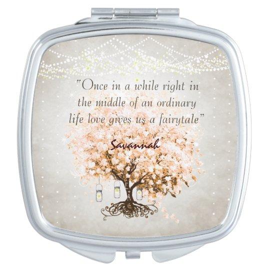Romantic Coral Hearleaf Tree Wedding Quote Makeup Mirror