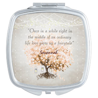 Romantic Coral Hearleaf Tree Wedding Quote Mirror For Makeup