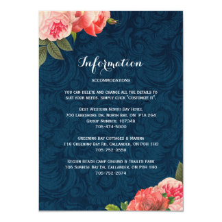 "Romantic Coral Peonie Detail Cards 4.5"" X 6.25"" Invitation Card"