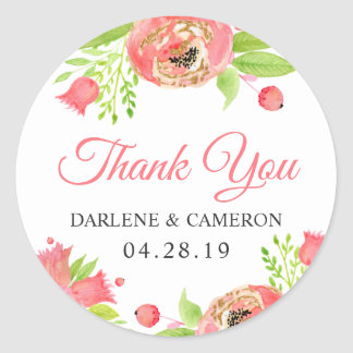 Romantic Coral Pink Blossom Flowers Thank You Classic Round Sticker