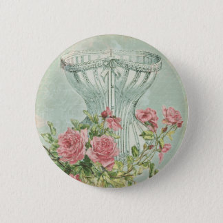 Romantic Corset Vintage Pink Roses Mint Textured 2 Inch Round Button