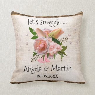Romantic Country Pink Floral Wedding Pillow