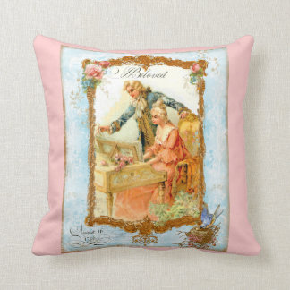 Romantic Couple at Harpsicord & Bluebird Throw Pillow