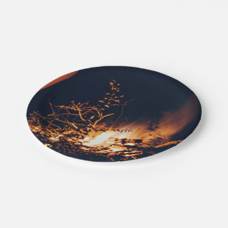 romantic couple bonfire image paper plate
