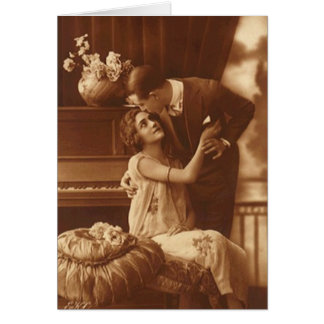 Romantic Couple Embrace Sepia Blank Note Card