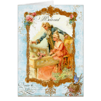 Romantic Couple French Vintage Style Greeting Card