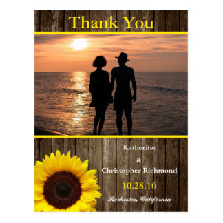 Romantic Couple Holding Hands at Sunset/sunflower Postcard