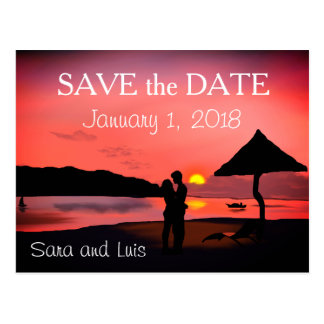 Romantic Couple on Beach at ZSunset Save the Date Postcard
