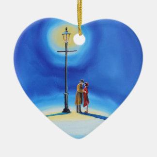 Romantic couple under a street lamp ceramic heart ornament
