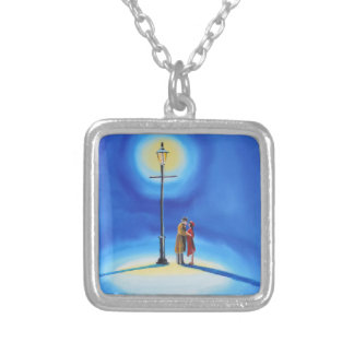 Romantic couple under a street lamp silver plated necklace