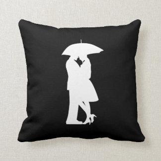 Romantic Couple Under Umbrella Pillow
